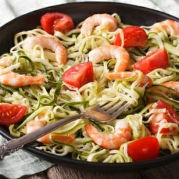 Zucchini Pasta with Pesto and Grilled Shrimp